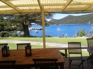 The view out the front of Great Barrier Lodge - so tranquil...