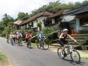 Cycling through the many villages on our way.