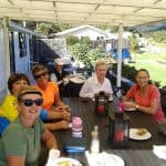 Our well deserved lunch at Great Barrier Lodge.